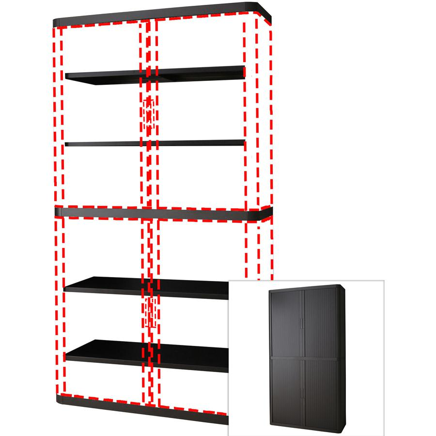 "Paperflow easyOffice 80"" Black Storage Cabinet Top, Back, Base and Shelves - 43.3"" x 16.3"" x 80"" - 6 x Shelf(ves) - 900 lb Load Capacity - Adjustable Shelf, Smooth Edge - Black - Polystyrene, Polyprop. Picture 2"