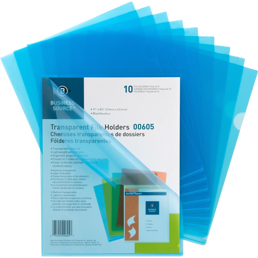 "Business Source Transparent Poly File Holders - Letter - 8 1/2"" x 11"" Sheet Size - 20 Sheet Capacity - Polypropylene - Blue - 10 / Pack"