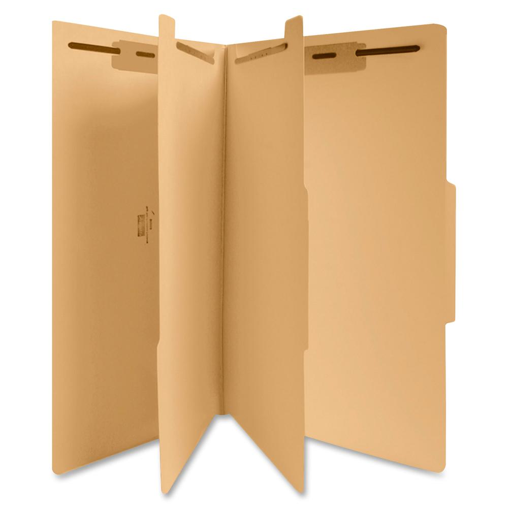 """Business Source 6-Part Manila Classification Folders - Legal - 8 1/2"""" x 14"""" Sheet Size - 2"""" Expansion - 1"""" Fastener Capacity, 2"""" Fastener Capacity - 2 Divider(s) - 18 pt. Folder Thickness - Manila - R. Picture 2"""