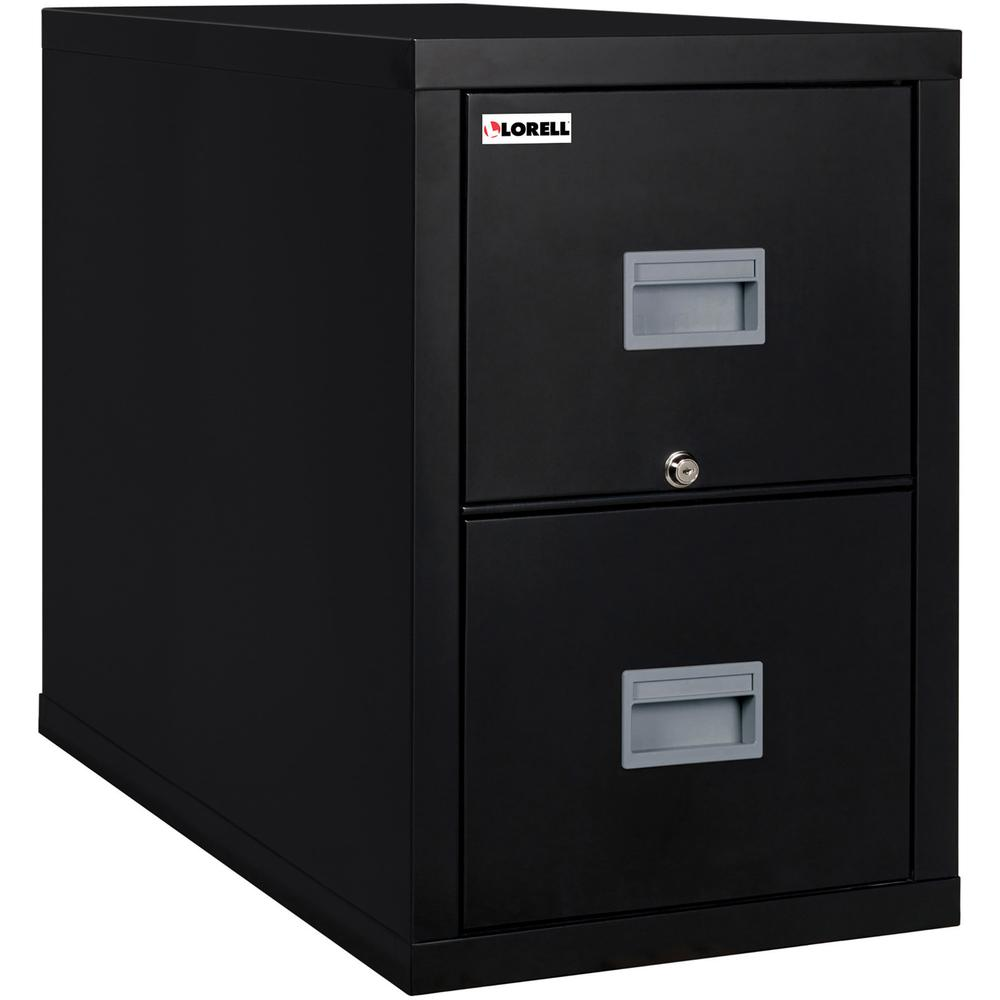 "Lorell Black Vertical Fireproof File Cabinet - 2-Drawer - 17.8"" x 31.6"" x 27.8"" - 2 x Drawer(s) for File - Letter - Vertical - Key Lock, Fire Proof, Damage Resistant, Moisture Resistant - Black - Recy. Picture 2"