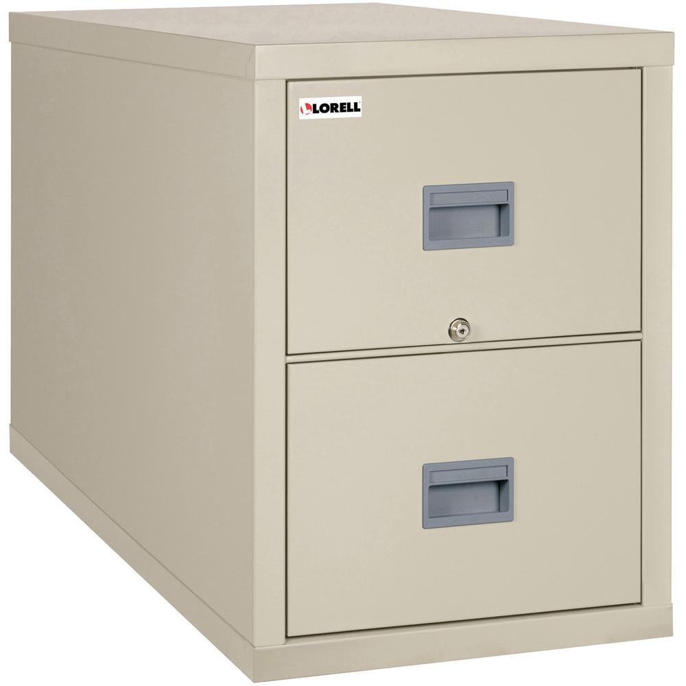 """Lorell White Vertical Fireproof File Cabinet - 2-Drawer - 20.9"""" x 31.6"""" x 27.8"""" - 2 x Drawer(s) for File - Legal - Vertical - Lockable, Fire Proof, Damage Resistant - Parchment, White - Recycled. Picture 2"""