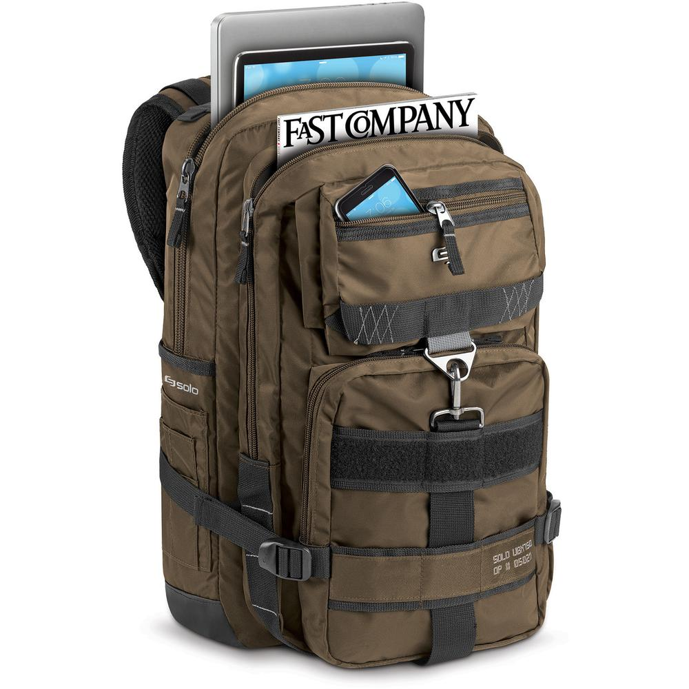 """Solo Black Ops Carrying Case (Backpack) for 17.3"""" Notebook - Bronze - Bump Resistant Interior, Scratch Resistant Interior - Nylon - Shoulder Strap, Handle - 18.5"""" Height x 12.6"""" Width x 4.9"""" Depth. Picture 3"""