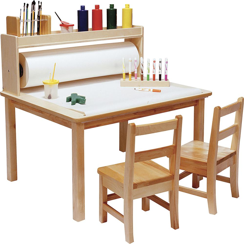 "Children's Factory Arts & Crafts Table - Square Top - 36"" Table Top Length x 36"" Table Top Width - 18"" Height - Assembly Required - Natural, Wood Grain, Laminated - Birch Veneer. Picture 2"