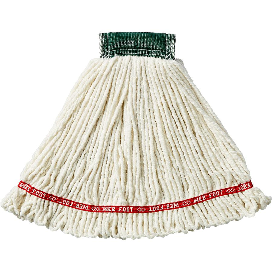 """Rubbermaid Commercial 5"""" Headband Shrinkless Wet Mop - Cotton, Yarn, Synthetic, PVC - White. Picture 2"""