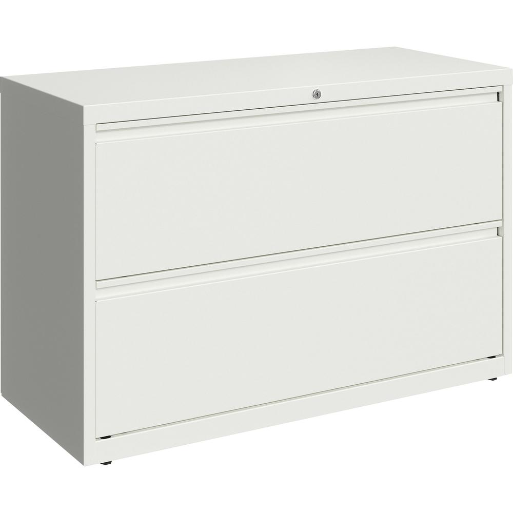 "Lorell 42"" White Lateral File - 2-Drawer - 42"" x 18.6"" x 28"" - 2 x Drawer(s) for File - Letter, Legal, A4 - Hanging Rail, Magnetic Label Holder, Locking Drawer, Locking Bar, Ball Bearing Slide, Reinfo. Picture 3"