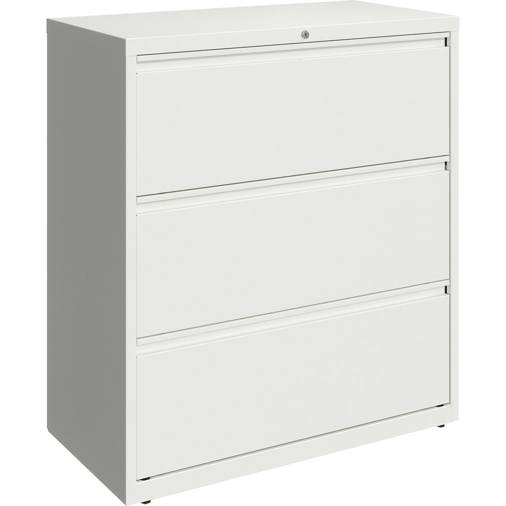 """Lorell 36"""" White Lateral File - 3-Drawer - 36"""" x 18.6"""" x 40.3"""" - 3 x Drawer(s) for File - Letter, Legal, A4 - Lateral - Hanging Rail, Magnetic Label Holder, Locking Drawer, Locking Bar, Ball Bearing S. Picture 4"""