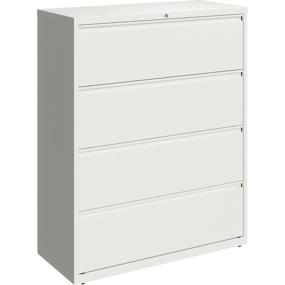 """Lorell 42"""" White Lateral File - 4-Drawer - 42"""" x 18.6"""" x 52.5"""" - 4 x Drawer(s) for File - Letter, Legal, A4 - Lateral - Hanging Rail, Magnetic Label Holder, Locking Drawer, Locking Bar, Ball Bearing S. Picture 2"""