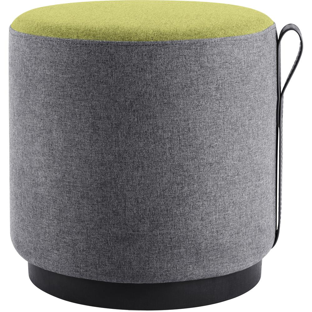 """Lorell Contemporary Seating Round Foot Stool - Green, Gray Fabric Seat - 16.9"""" Width x 16.9"""" Depth x 16.9"""" Height - 1 Each. Picture 2"""