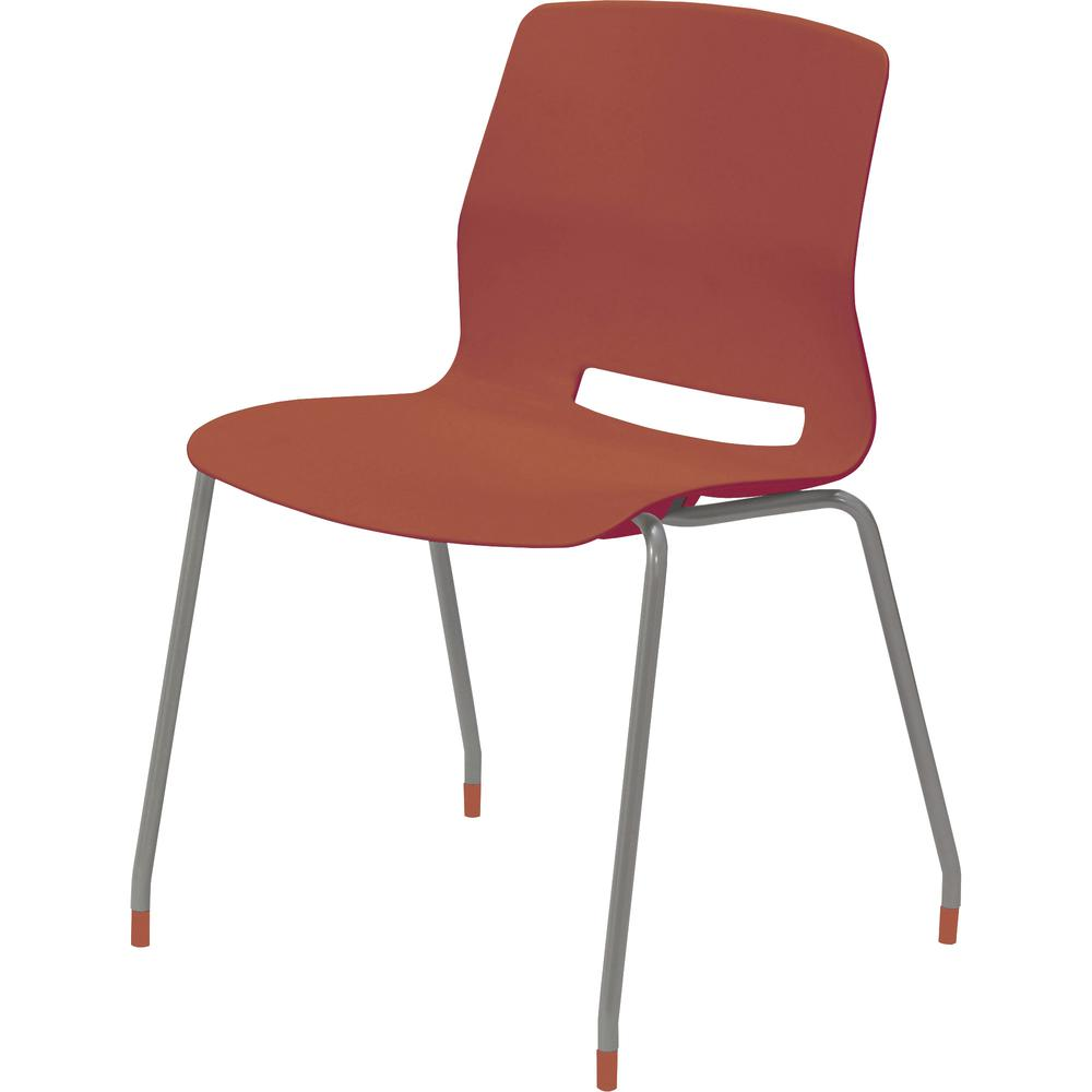 """KFI Swey Collection 4-leg Armless Stool - Coral Polypropylene Seat - Coral Polypropylene Back - Silver Stainless Steel Frame - Four-legged Base - 18"""" Seat Width x 17"""" Seat Depth - 22"""" Width x 19.7"""" De. Picture 2"""