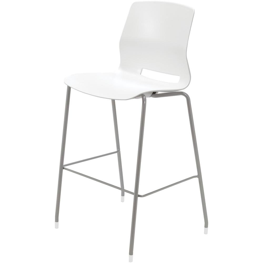 "KFI Swey Collection 30"" Multipurpose Stool - White Polypropylene Seat - White Polypropylene Back - Silver Stainless Steel Frame - Four-legged Base - 18"" Seat Width x 17"" Seat Depth - 20.5"" Width x 20.. Picture 2"
