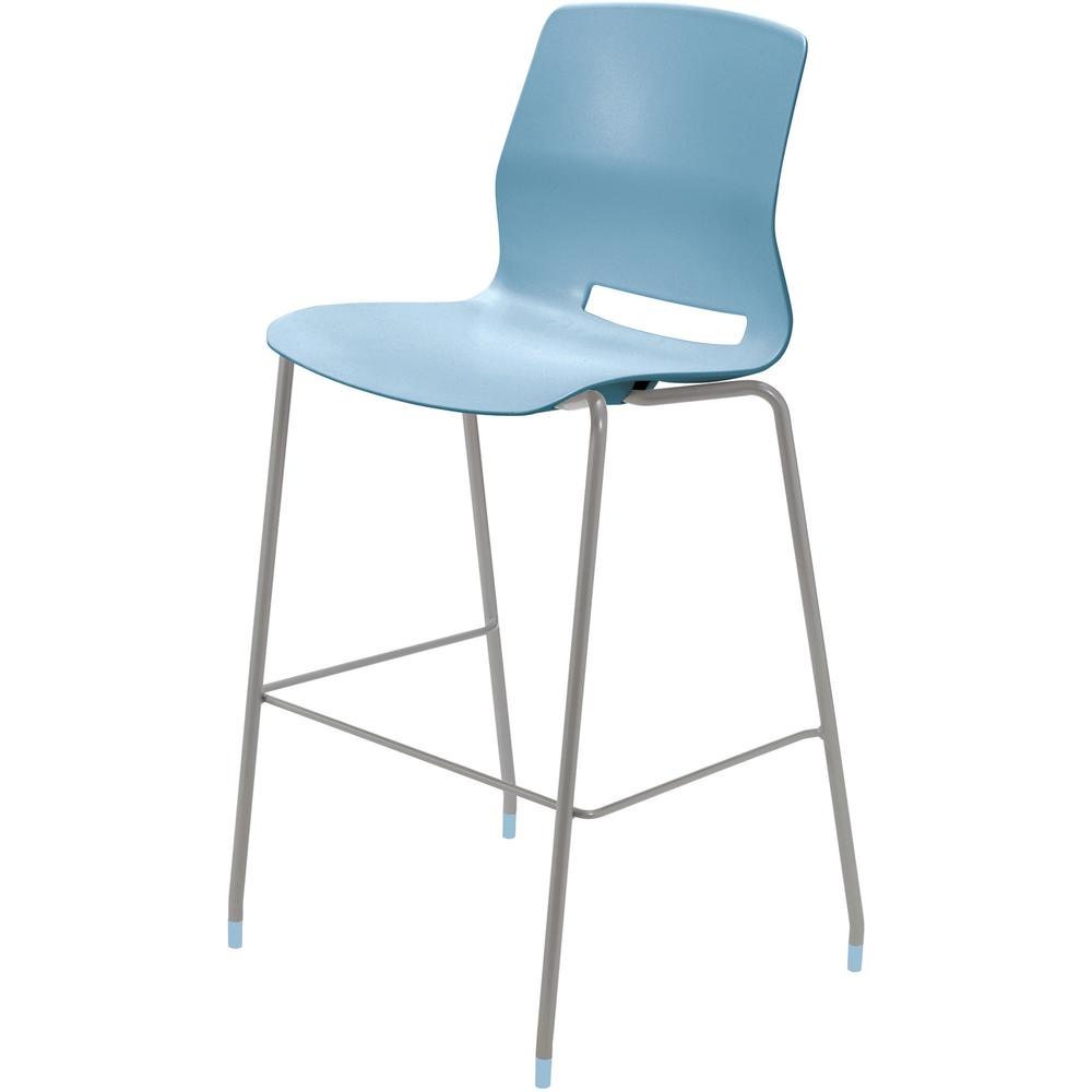 """KFI Swey Collection 30"""" Multipurpose Stool - Sky Blue Polypropylene Seat - Sky Blue Polypropylene Back - Silver Stainless Steel Frame - Four-legged Base - 18"""" Seat Width x 17"""" Seat Depth - 20.5"""" Width. Picture 2"""
