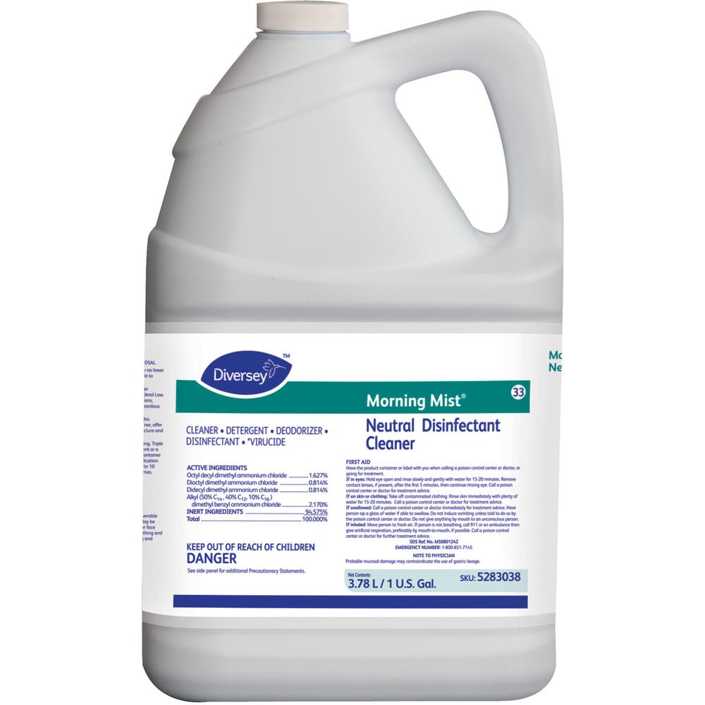 Diversey Morning Mist Neutral Disinfectant - Ready-To-Use Spray - 128 fl oz (4 quart) - Neutral Scent - 4 / Carton - Blue. Picture 2