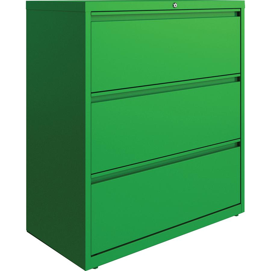 "Lorell 3-drawer Lateral File - 36"" x 18.8"" x 40.3"" - 3 x Drawer(s) for File - Letter, Legal, A4 - Lateral - Hanging Rail, Label Holder, Durable, Nonporous Surface, Removable Lock, Locking Bar, Pull-ou. Picture 2"