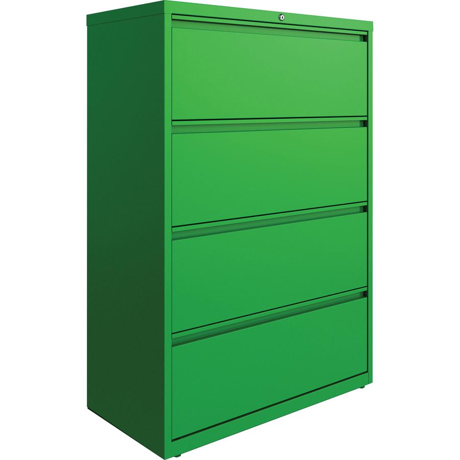"Lorell 4-drawer Lateral File - 36"" x 18.8"" x 52.5"" - 4 x Drawer(s) for File - Letter, Legal, A4 - Lateral - Hanging Rail, Label Holder, Durable, Nonporous Surface, Removable Lock, Locking Bar, Pull-ou. Picture 4"
