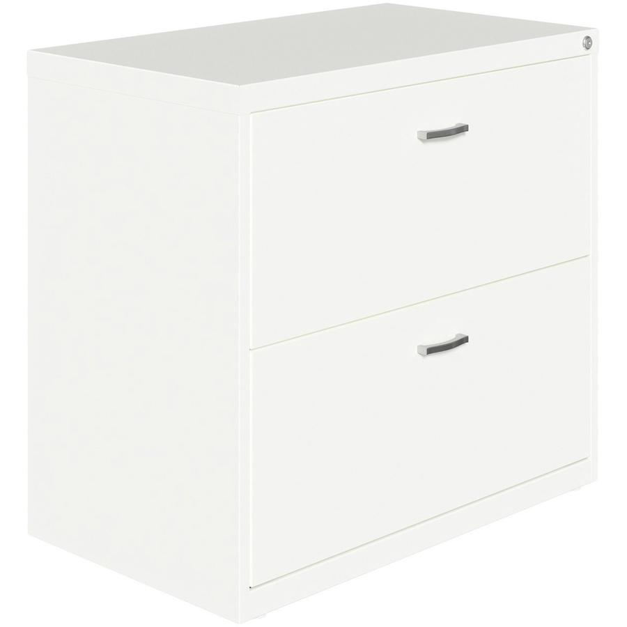 """Lorell SOHO Arc Pull Steel Lateral File - 30"""" x 17.6"""" x 27.8"""" - 2 x Drawer(s) for File - Letter - Lateral - Pull-out Drawer, Durable, Hanging Rail, Interlocking, Anti-tip Locking, Ball-bearing Suspens. Picture 5"""