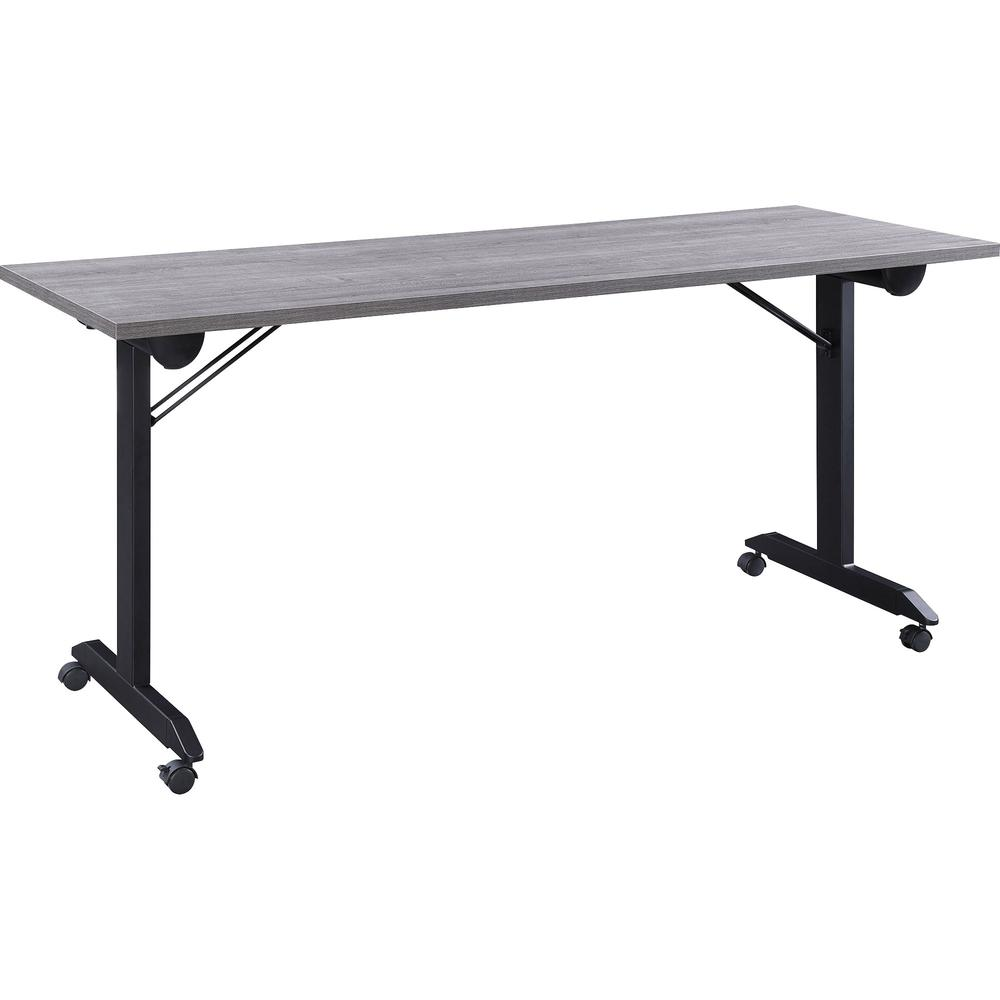 """Lorell Mobile Folding Training Table - Rectangle Top - Powder Coated Base - 23.63"""" Table Top Length x 29.50"""" Table Top Width - 63"""" Height - Assembly Required - Weathered Charcoal. Picture 2"""