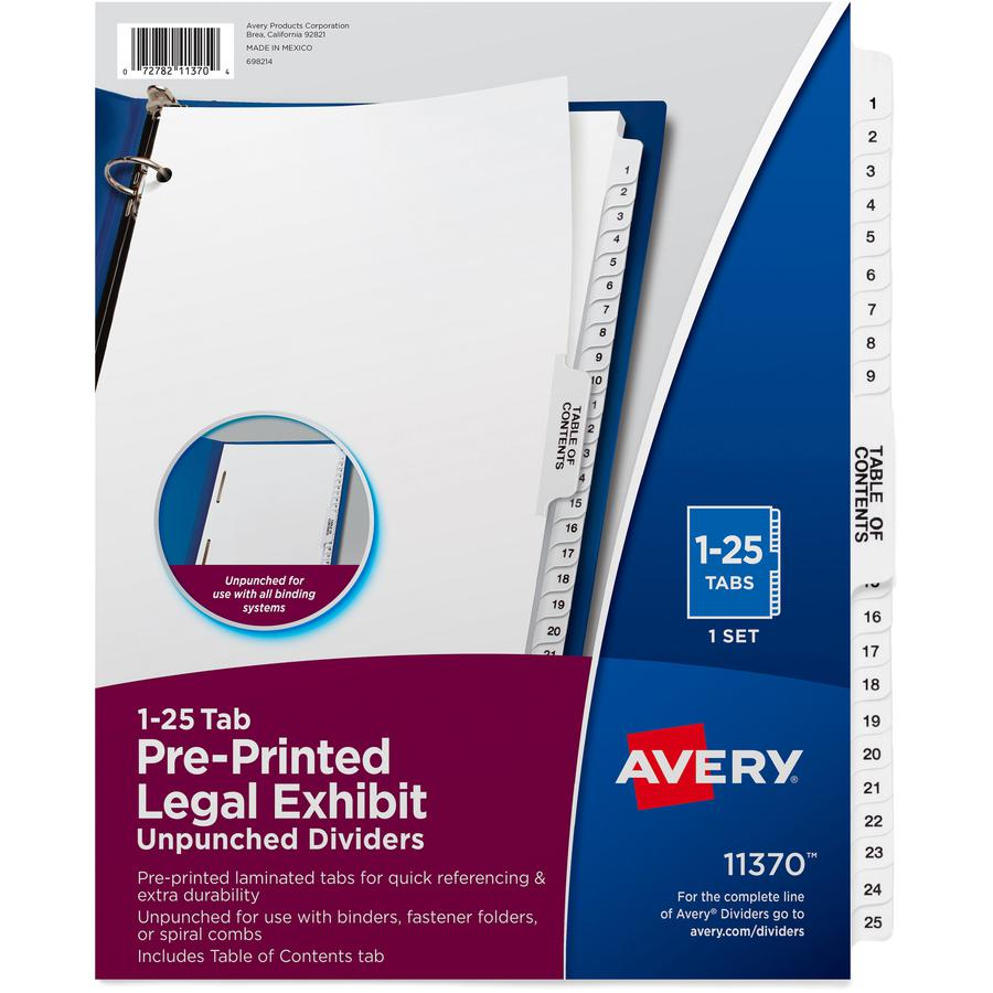"""Avery® Index Divider - 1 x Divider(s) - Side Tab(s) - 1-25, Table of Contents - 26 Tab(s)/Set - Letter - 8 1/2"""" Width x 11"""" Length - Paper Divider - White Tab(s) - 25 / Set. Picture 2"""