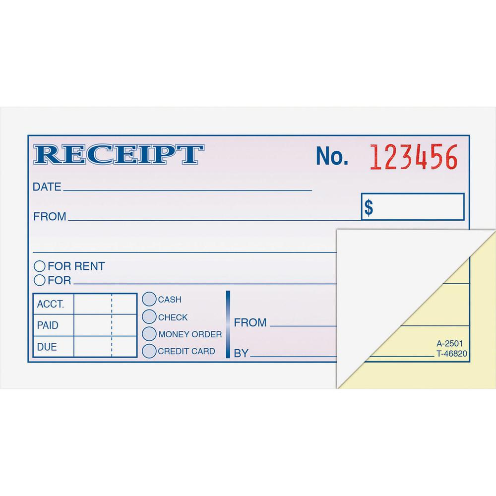 "Adams Money/rent Receipt Books - 50 Sheet(s) - Tape Bound - 2 Part - 2.75"" x 5.37"" Form Size - White - Assorted Sheet(s) - 1 Each. Picture 2"