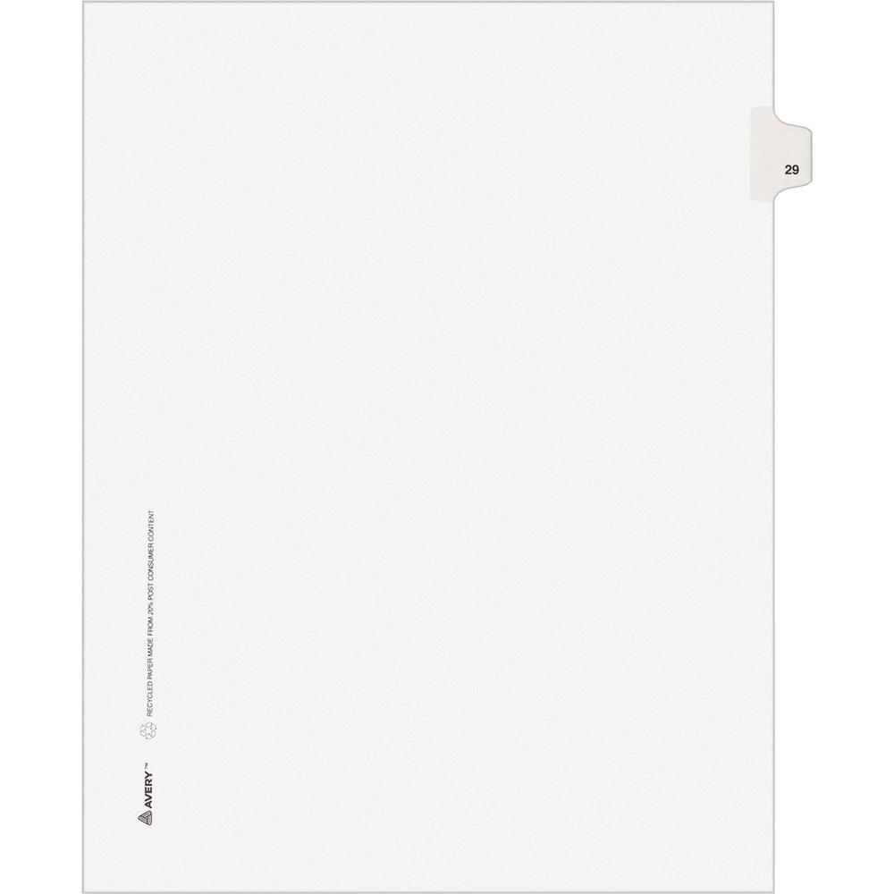 """Avery® Individual Legal Exhibit Dividers - Avery Style - 1 Printed Tab(s) - Digit - 29 - 1 Tab(s)/Set - 8.5"""" Divider Width x 11"""" Divider Length - Letter - White Paper Divider - Paper Tab(s) - 25 /. Picture 3"""