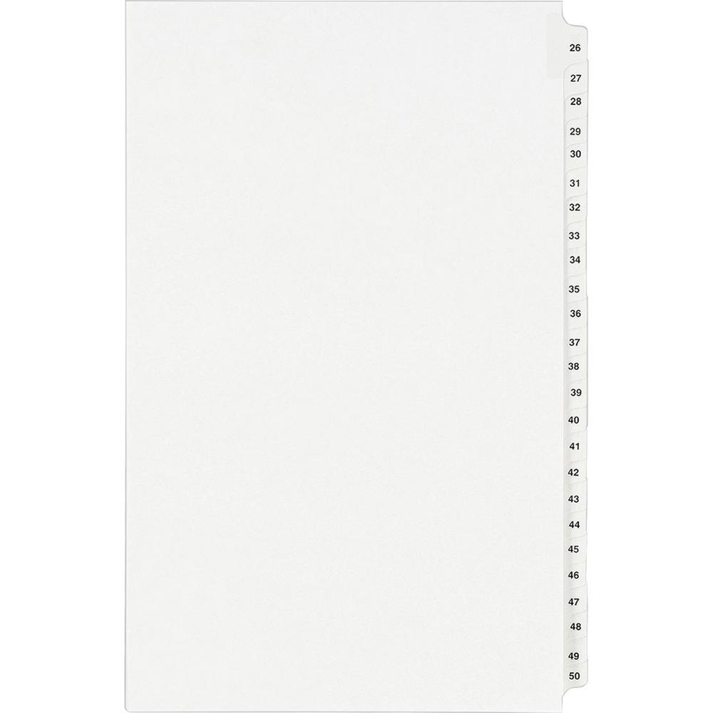 """Avery® Standard Collated Legal Exhibit Divider Sets - Avery Style - 25 x Divider(s) - Printed Tab(s) - Digit - 26-50 - 25 Tab(s)/Set - 8.5"""" Divider Width x 14"""" Divider Length - Legal - White Paper. Picture 2"""