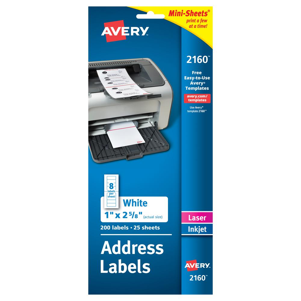 Avery® Mini-Sheets Address Label - Permanent Adhesive - Rectangle - Laser, Inkjet - White - Paper - 8 / Sheet - 25 Total Sheets - 200 Total Label(s) - 1. Picture 2