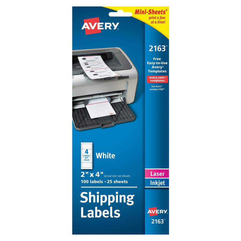 Avery® Mini-Sheets Shipping Label - Permanent Adhesive - Rectangle - Laser, Inkjet - White - Paper - 4 / Sheet - 25 Total Sheets - 100 Total Label(s) - 1. Picture 3