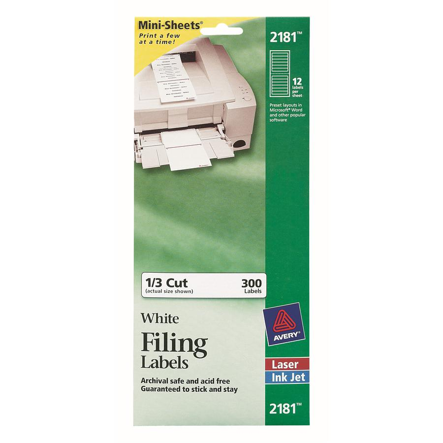 Avery® File Folder Labels - Permanent Adhesive - Rectangle - Laser, Inkjet - White - Paper - 12 / Sheet - 25 Total Sheets - 300 Total Label(s) - 1. Picture 3