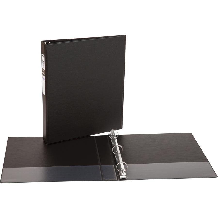 "Avery® Economy Binder - 1"" Binder Capacity - Letter - 8 1/2"" x 11"" Sheet Size - 175 Sheet Capacity - 3 x Round Ring Fastener(s) - 2 Internal Pocket(s) - Vinyl - Black - Recycled - Non Locking Mech. Picture 2"