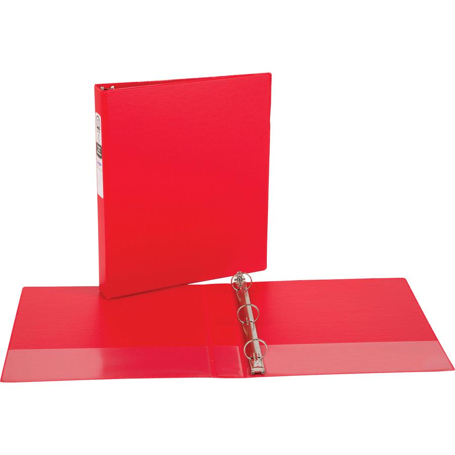 """Avery® Economy Binder - 1"""" Binder Capacity - Letter - 8 1/2"""" x 11"""" Sheet Size - 175 Sheet Capacity - 3 x Round Ring Fastener(s) - 2 Internal Pocket(s) - Vinyl - Red - Recycled - Non Locking Mechan. Picture 2"""
