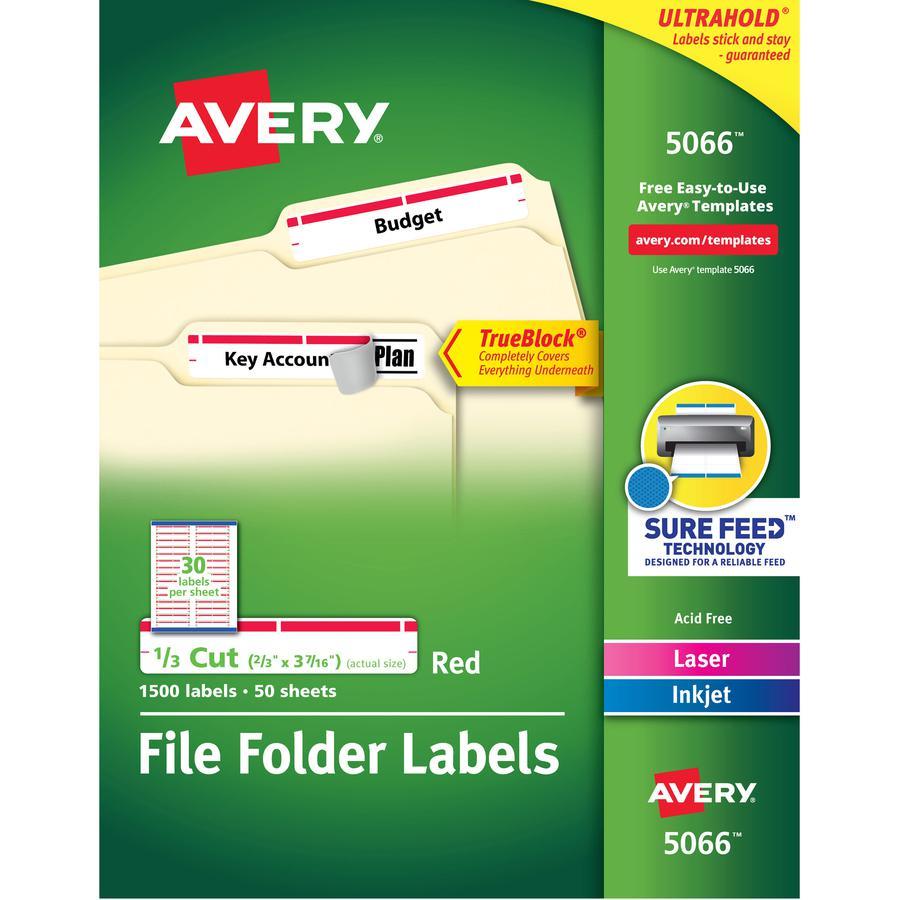 Avery® TrueBlock File Folder Labels - Permanent Adhesive - Rectangle - Laser, Inkjet - Red - Paper - 30 / Sheet - 50 Total Sheets - 1500 Total Label(s) - 5. Picture 2