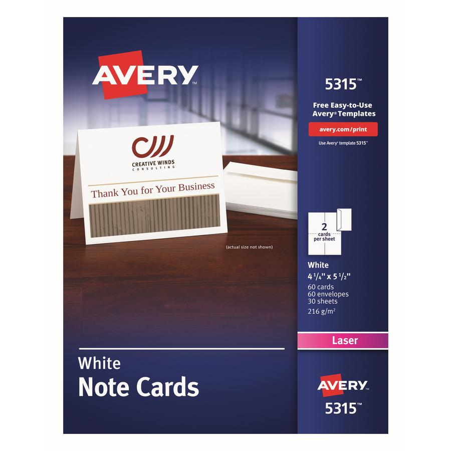 """Avery® Laser Greeting Card - White - 97 Brightness - 4 1/4"""" x 5 1/2"""" - FSC Mix - Rounded Corner. Picture 3"""