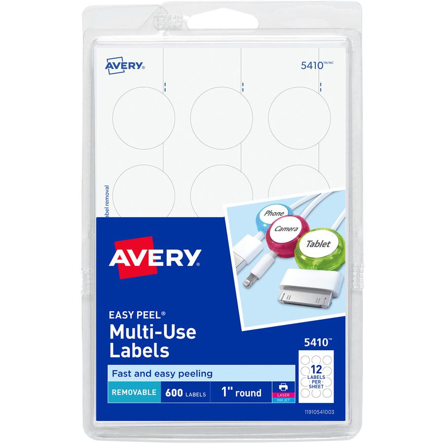 """Avery® Removable ID Labels - 1"""" Diameter - Removable Adhesive - Circle - Inkjet, Laser - White - 600 / Pack. Picture 2"""