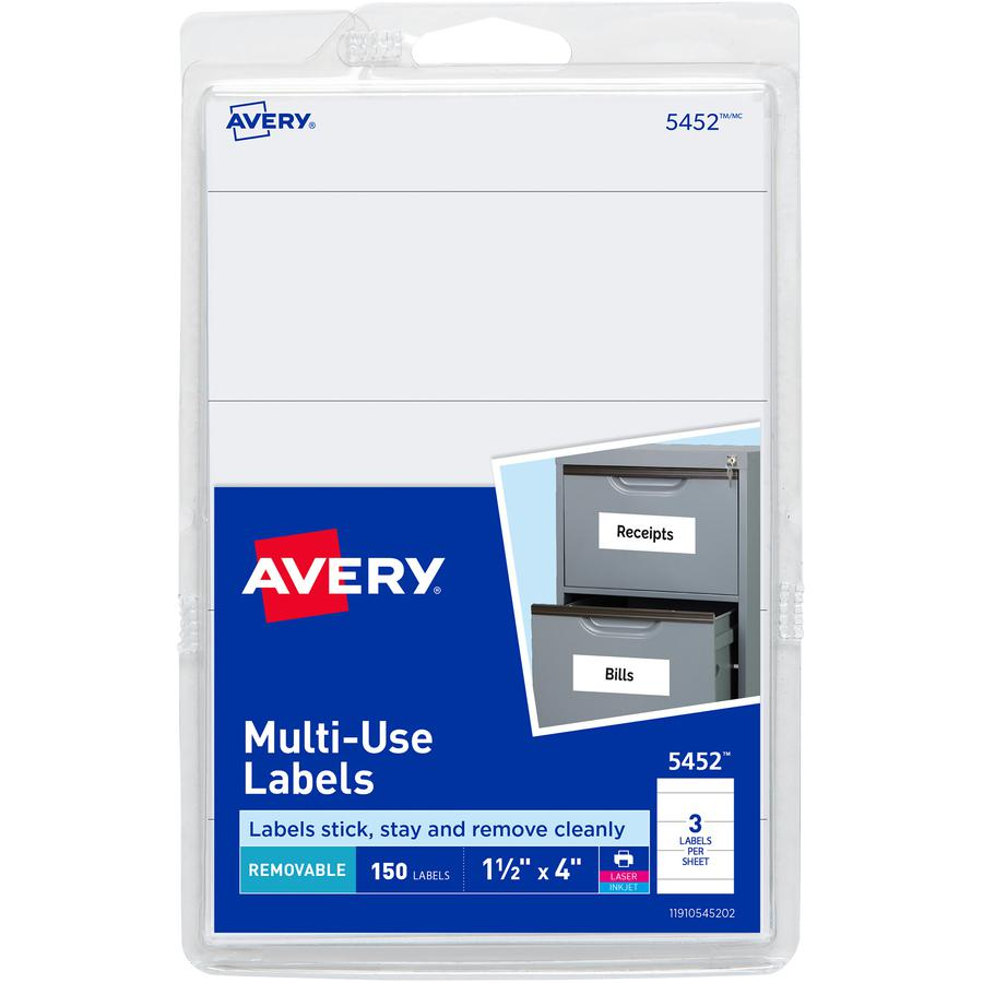 """Avery® Removable ID Labels - 4"""" x 1 1/2"""" Length - Removable Adhesive - Rectangle - Laser, Inkjet - White - 150 / Pack. Picture 3"""