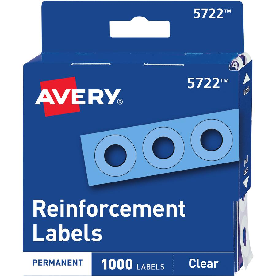 """Avery® Hole Reinforcement Label Rings - 0.3"""" Diameter - 0.25"""" Maximum Capacity - Round - Clear - Polyvinyl - 1000 / Pack. Picture 2"""