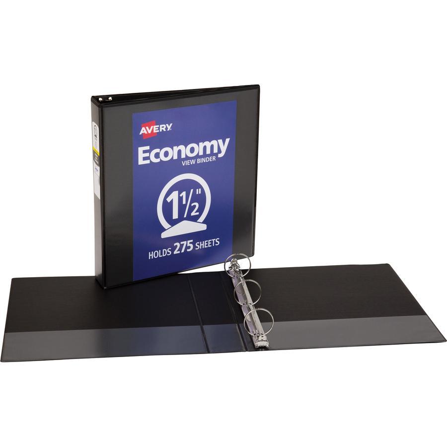 "Avery® Economy View Binder - 1 1/2"" Binder Capacity - Letter - 8 1/2"" x 11"" Sheet Size - 275 Sheet Capacity - 3 x Round Ring Fastener(s) - 2 Internal Pocket(s) - Vinyl - Black - 15.84 oz - Gap-fre. Picture 3"