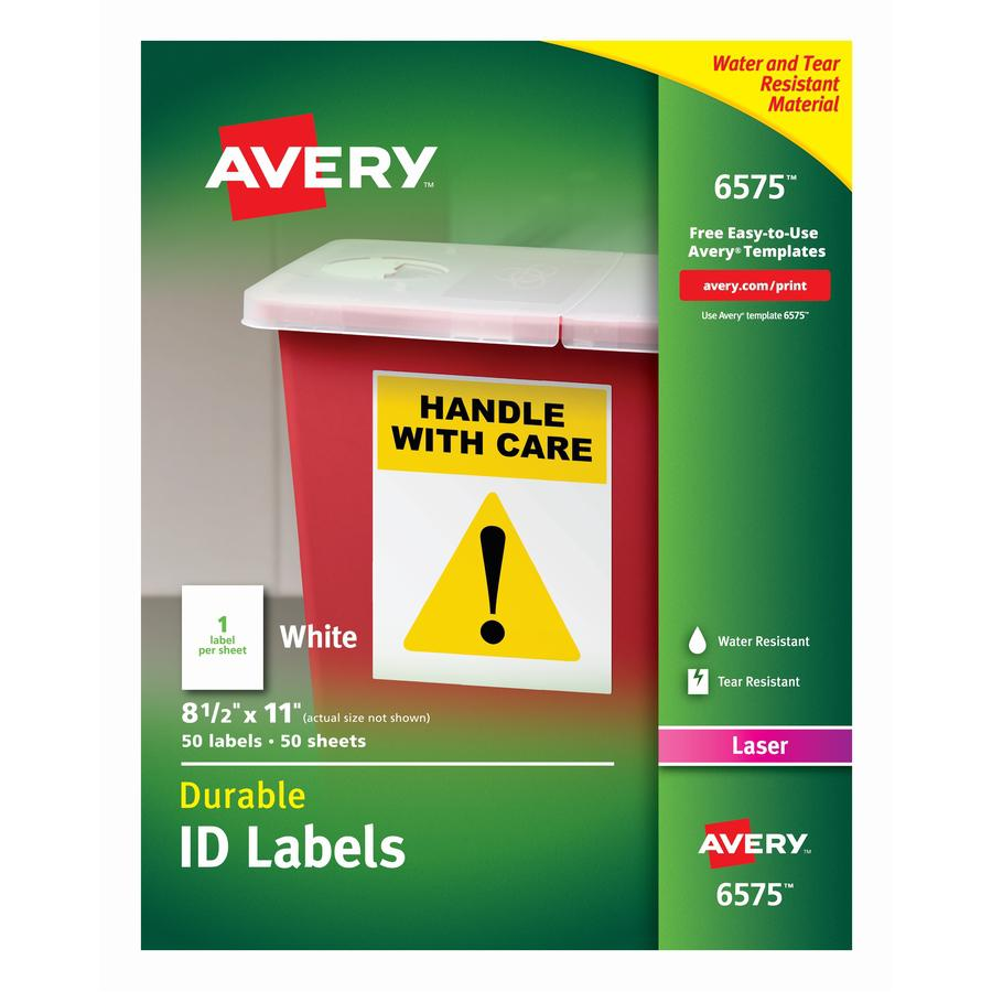 Avery® TrueBlock ID Label - Permanent Adhesive - Rectangle - Laser - White - Film - 1 / Sheet - 50 Total Sheets - 50 Total Label(s) - 5. Picture 5