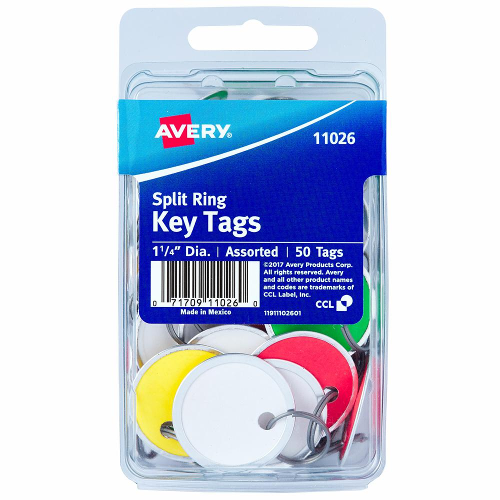 """Avery(R) Metal Rim Key Tags, 1-1/4"""" Diameter Tag, Metal Split Ring, Assorted Colors, 50 Tags (11026) - Metal - 50 / Pack - Assorted. Picture 2"""