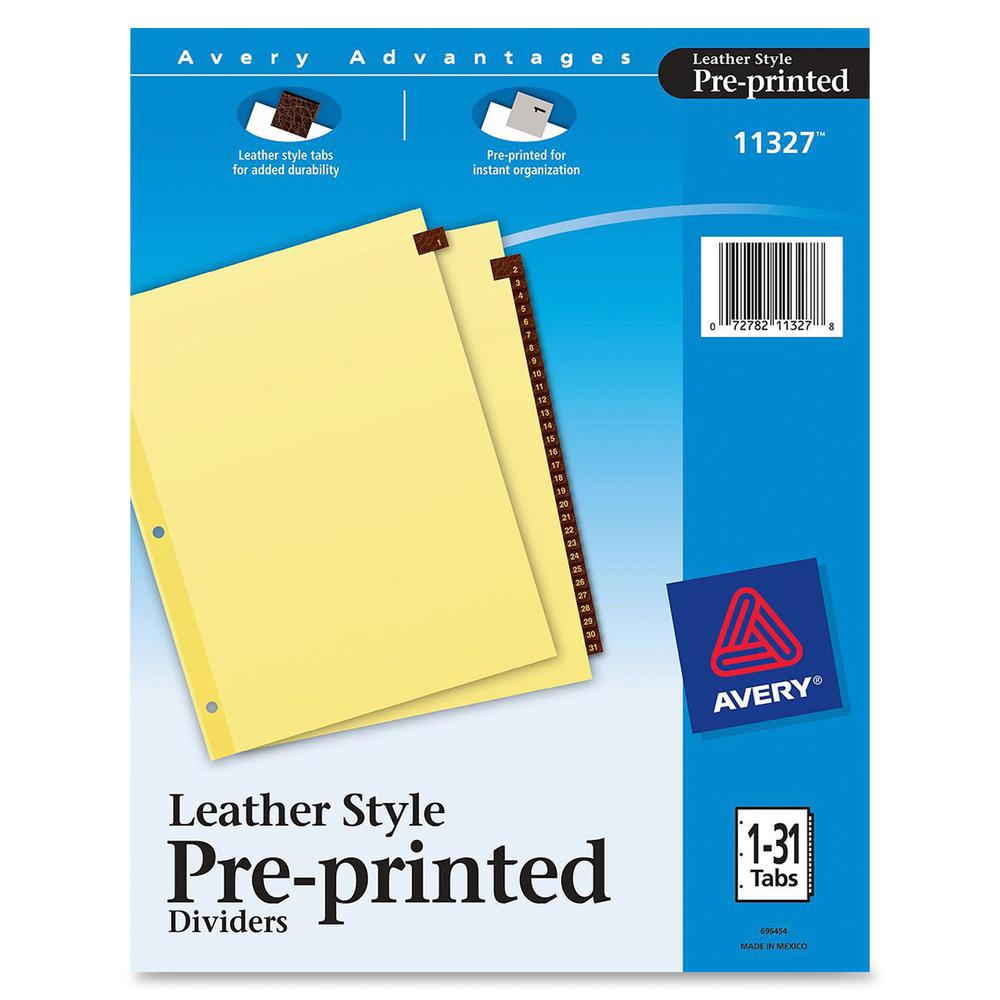 """Avery® Preprinted Tab Dividers - Clear Reinforced Edge - 31 Printed Tab(s) - Digit - 1-31 - 31 Tab(s)/Set - 8.5"""" Divider Width x 11"""" Divider Length - Letter - 3 Hole Punched - Buff Paper Divider -. Picture 2"""