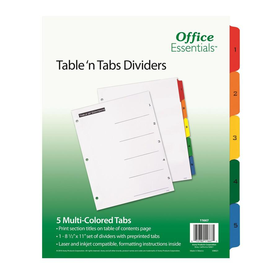 """Avery® Table 'N Tabs Numeric Dividers - 5 x Divider(s) - 1-5, Table of Contents - 5 Tab(s)/Set - 8.5"""" Divider Width x 11"""" Divider Length - 3 Hole Punched - White Paper Divider - Multicolor Paper T. Picture 3"""