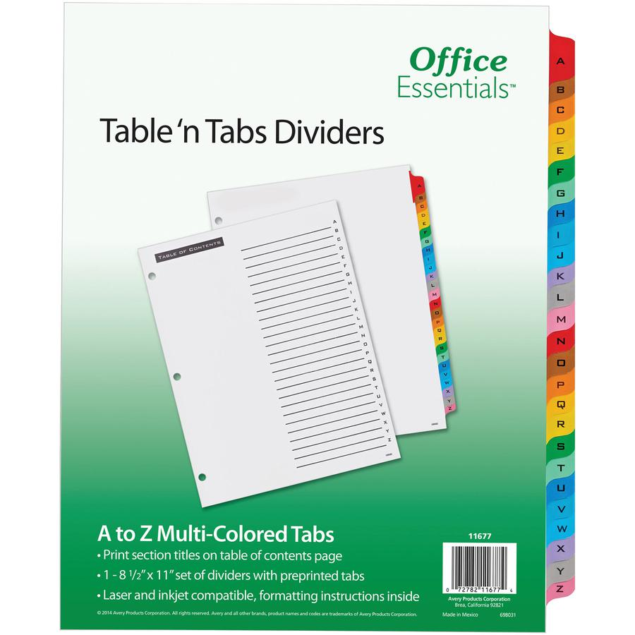 """Avery® A-Z Table 'N Tabs Dividers - 26 x Divider(s) - A-Z, Table of Contents - 26 Tab(s)/Set - 8.5"""" Divider Width x 11"""" Divider Length - 3 Hole Punched - White Paper Divider - Multicolor Paper Tab. Picture 2"""