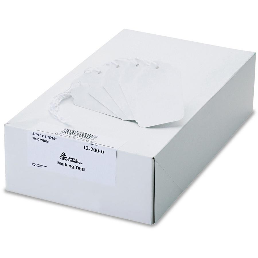 """Avery® White Marking Tags - 3.25"""" Length x 1.94"""" Width - Rectangular - Twine Fastener - 1000 / Box - Polyester, Cotton - White. Picture 3"""