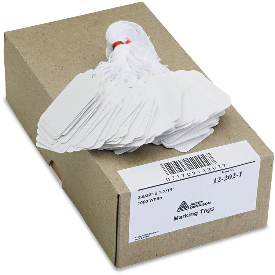"""Avery® Marking Tags - Strung - 2.16"""" Length x 1.44"""" Width - Rectangular - Twine Fastener - 1000 / Box - Cotton, Polyester, Card Stock - White. Picture 2"""