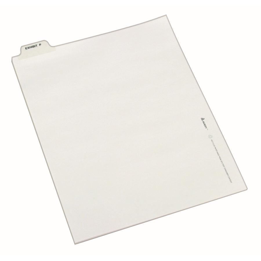 """Avery® Individual Bottom Tab Legal Dividers - 25 x Divider(s) - Bottom Tab(s) - Exhibit P - 1 Tab(s)/Set - Letter - 8 1/2"""" Width x 11"""" Length - White Paper Divider - 1. Picture 2"""