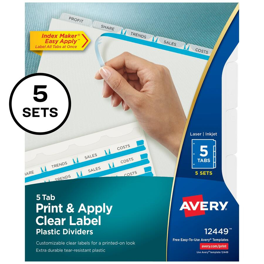 """Avery® Index Maker Index Divider - 25 x Divider(s) - Print-on Tab(s) - 5 - 5 Tab(s)/Set - 8.5"""" Divider Width x 11"""" Divider Length - 3 Hole Punched - Translucent Plastic Divider - Frosted Clear Pla. Picture 2"""