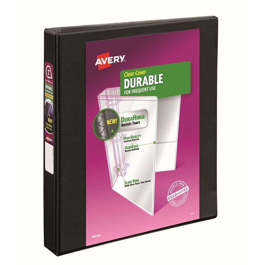 "Avery® Durable View 3 Ring Binder - 1"" Binder Capacity - Letter - 8 1/2"" x 11"" Sheet Size - 250 Sheet Capacity - 3 x Slant Ring Fastener(s) - 2 Internal Pocket(s) - Polypropylene - Black - Recycle. Picture 5"