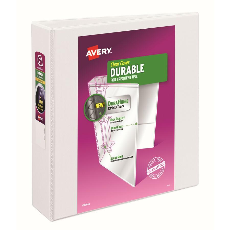"""Avery® Durable View 3 Ring Binder - 2"""" Binder Capacity - Letter - 8 1/2"""" x 11"""" Sheet Size - 530 Sheet Capacity - 3 x Slant Ring Fastener(s) - 2 Internal Pocket(s) - Polypropylene - White - Recycle. Picture 5"""
