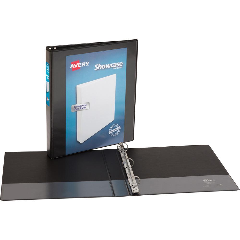 "Avery® Showcase Economy View Binder - 1"" Binder Capacity - Letter - 8 1/2"" x 11"" Sheet Size - 175 Sheet Capacity - Ring Fastener(s) - 2 Internal Pocket(s) - Black - 14.72 oz - 1 Each. Picture 4"