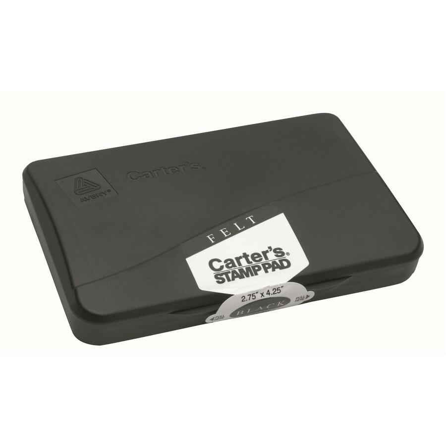 "Carter's® Reinkable Felt Stamp Pads - 1 Each - 2.8"" Width x 4.3"" Length - Felt Pad - Black Ink - Black. Picture 3"