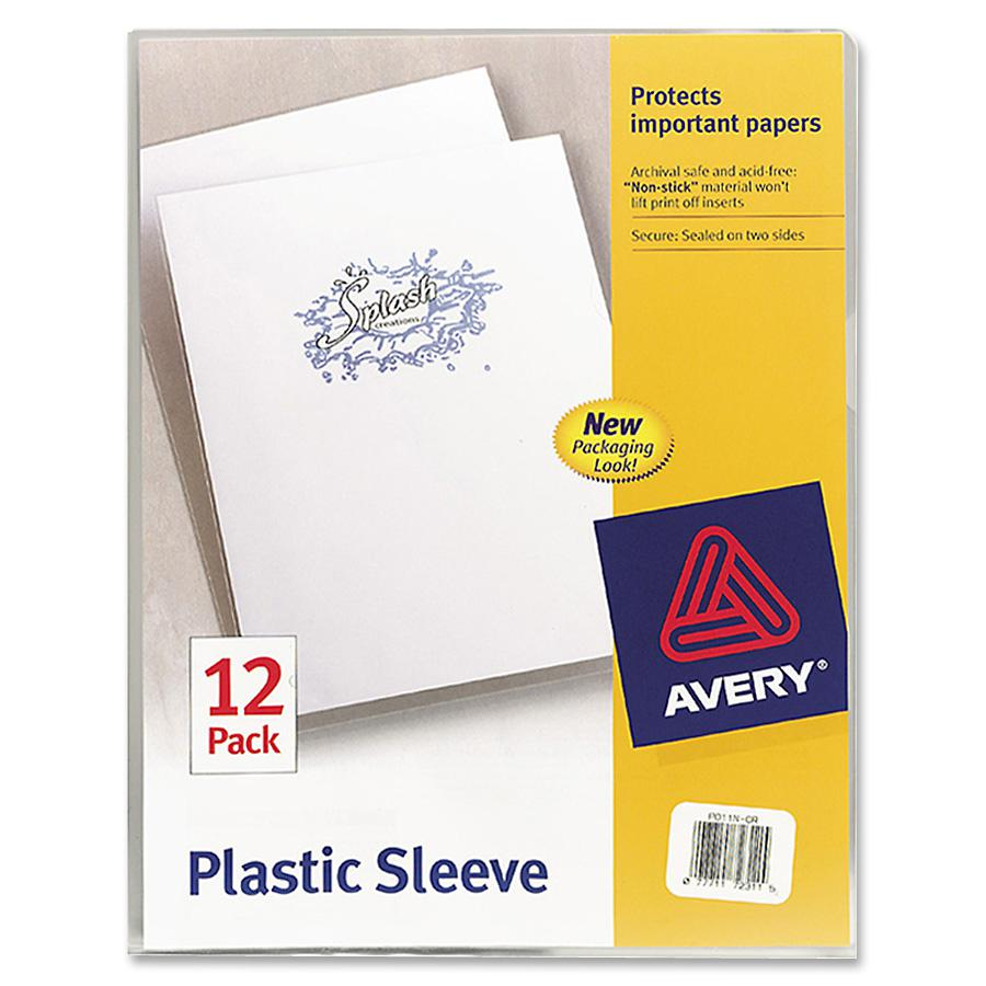 """Avery® Letter File Sleeve - 8 1/2"""" x 11"""" - 100 Sheet Capacity - Polypropylene - Clear - 12 / Pack. Picture 2"""
