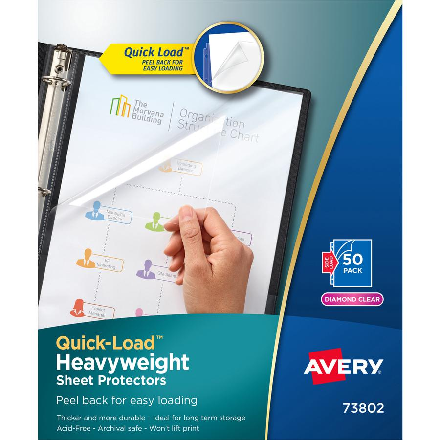 """Avery® Quick-Load Sheet Protectors - For Letter 8 1/2"""" x 11"""" Sheet - Clear - Polypropylene - 50 / Box. Picture 2"""